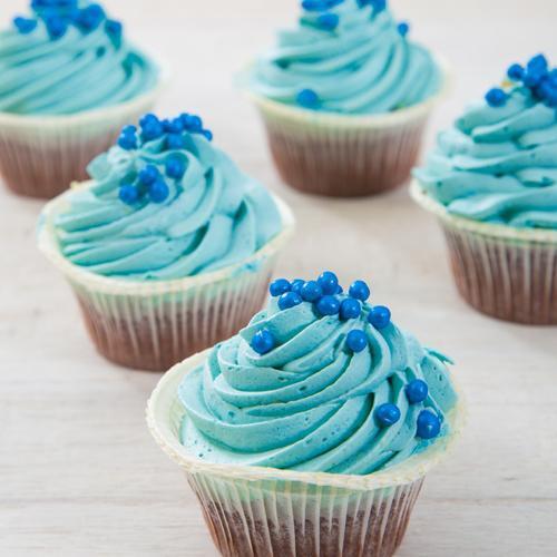 Blauwe babyshower Cupcakes